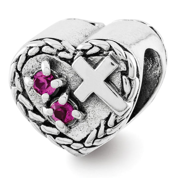Sterling Silver Reflections CZ and Cross Heart Bead