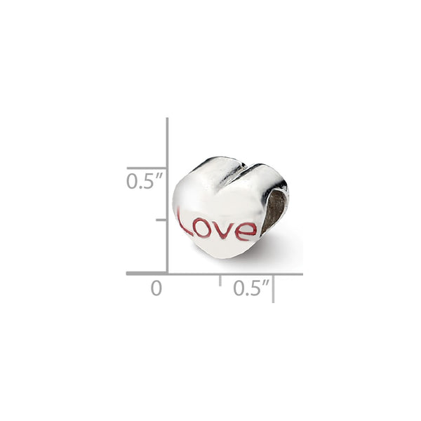 Sterling Silver Reflections Enameled Love Heart Bead