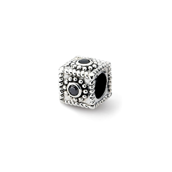 Sterling Silver Reflections Square CZ Bead