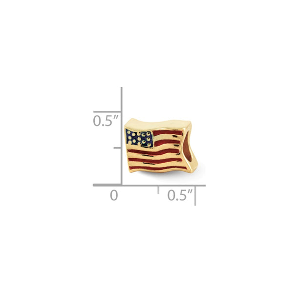 Sterling Silver Gold-plated Reflections USA Flag Bead