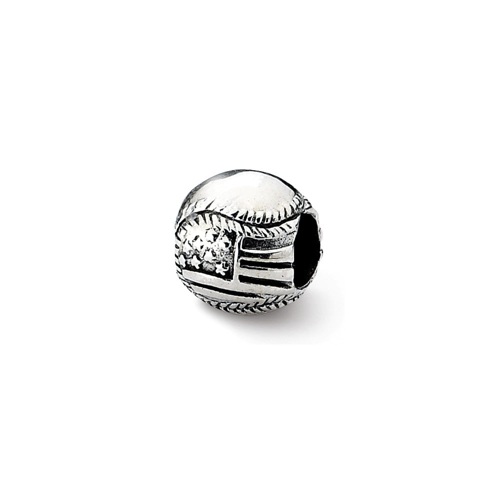 Sterling Silver Reflections USA Flag Baseball Bead