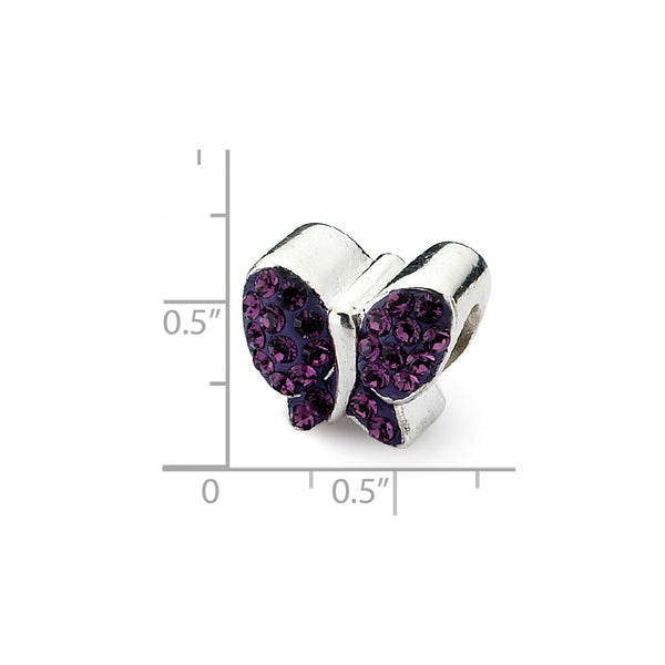 Sterling Silver Reflections Purple Swarovski Crystal Butterfly Bead