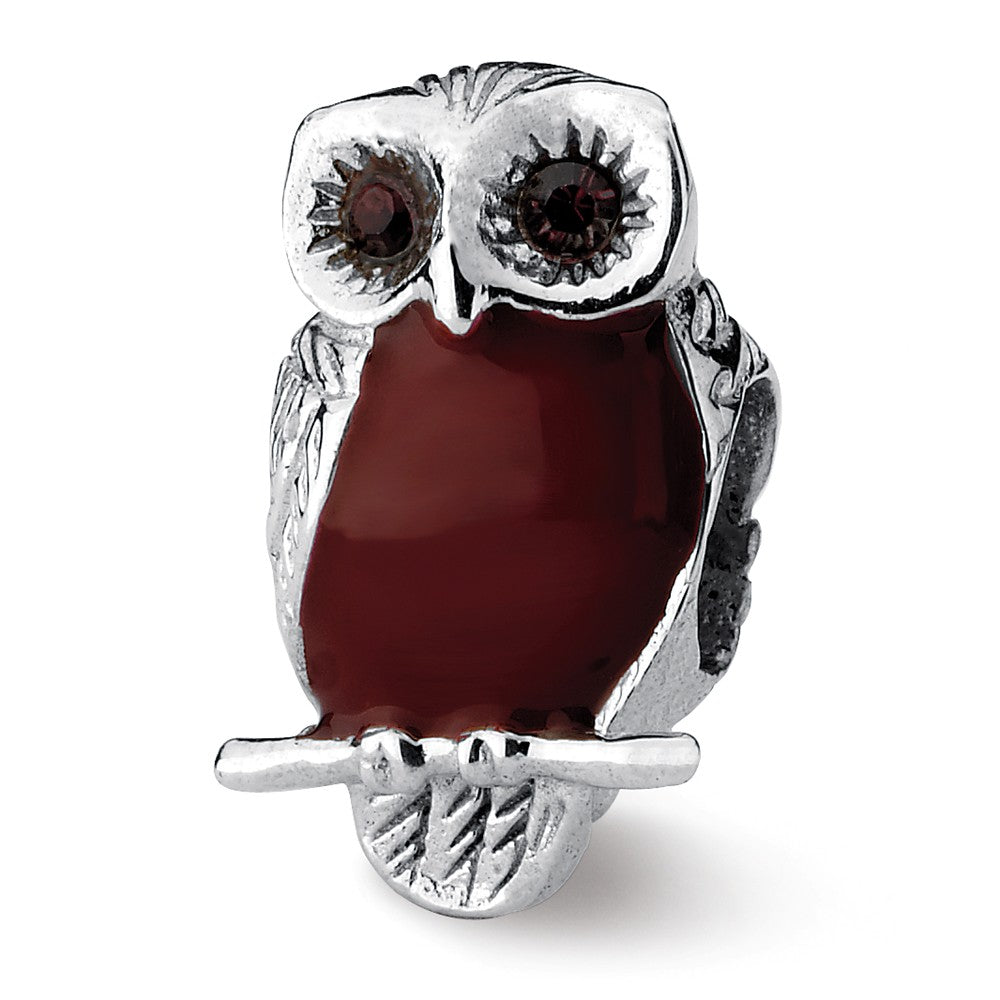 Sterling Silver Reflections Brown Enameled Wise Owl Bead