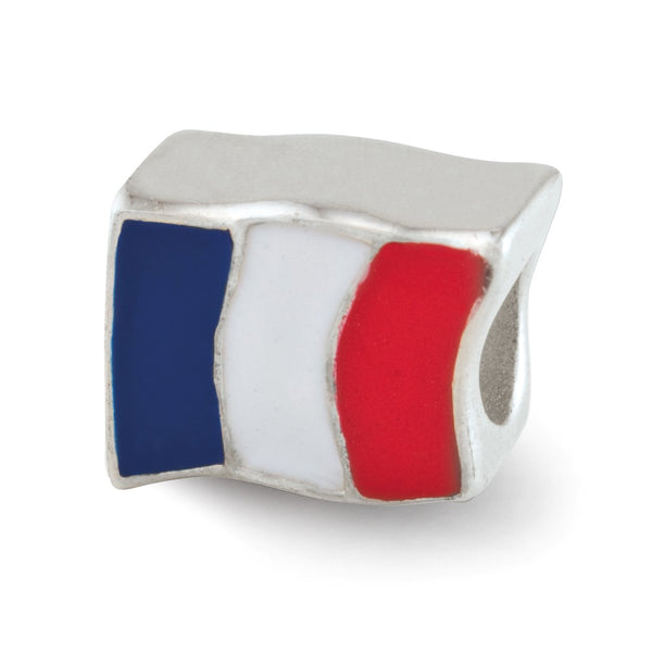 Sterling Silver Reflections Enameled France Flag Bead