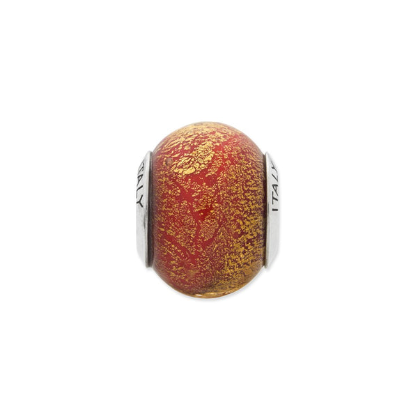 Sterling Silver Reflections Orange & Gold Italian Murano Bead