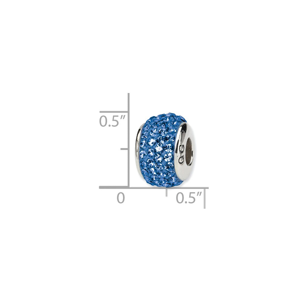 Sterling Silver Reflections Blue Full Swarovski Crystal Bead