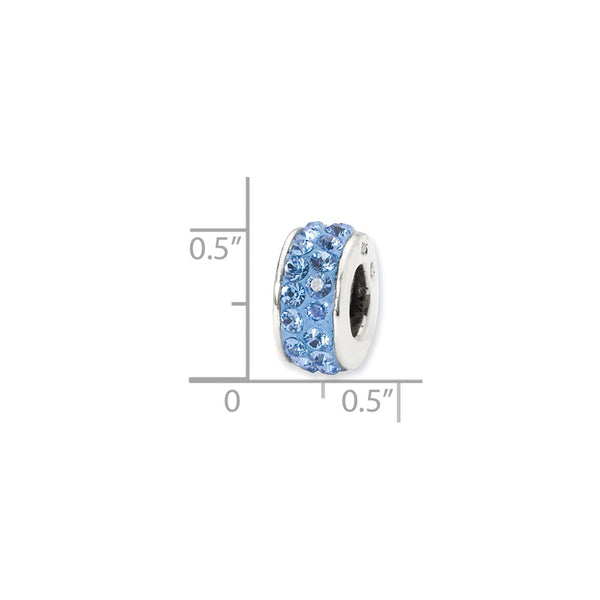 Sterling Silver Reflections Light Blue Double Row Swarovski Crystal Bead