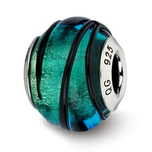 Load image into Gallery viewer, Sterling Silver Reflections Teal w/Black Stripes Italian Murano Bead
