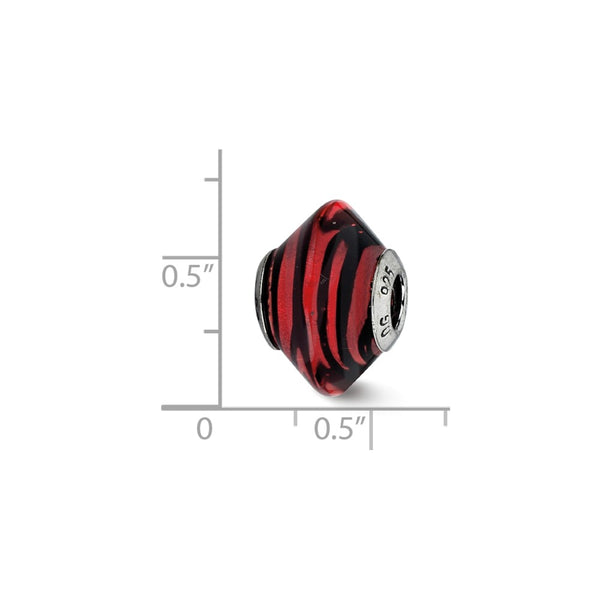 Sterling Silver Reflections Red w/Black Stripes Italian Murano Bead
