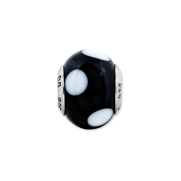 Sterling Silver Reflections Black w/White Dots Italian Murano Bead