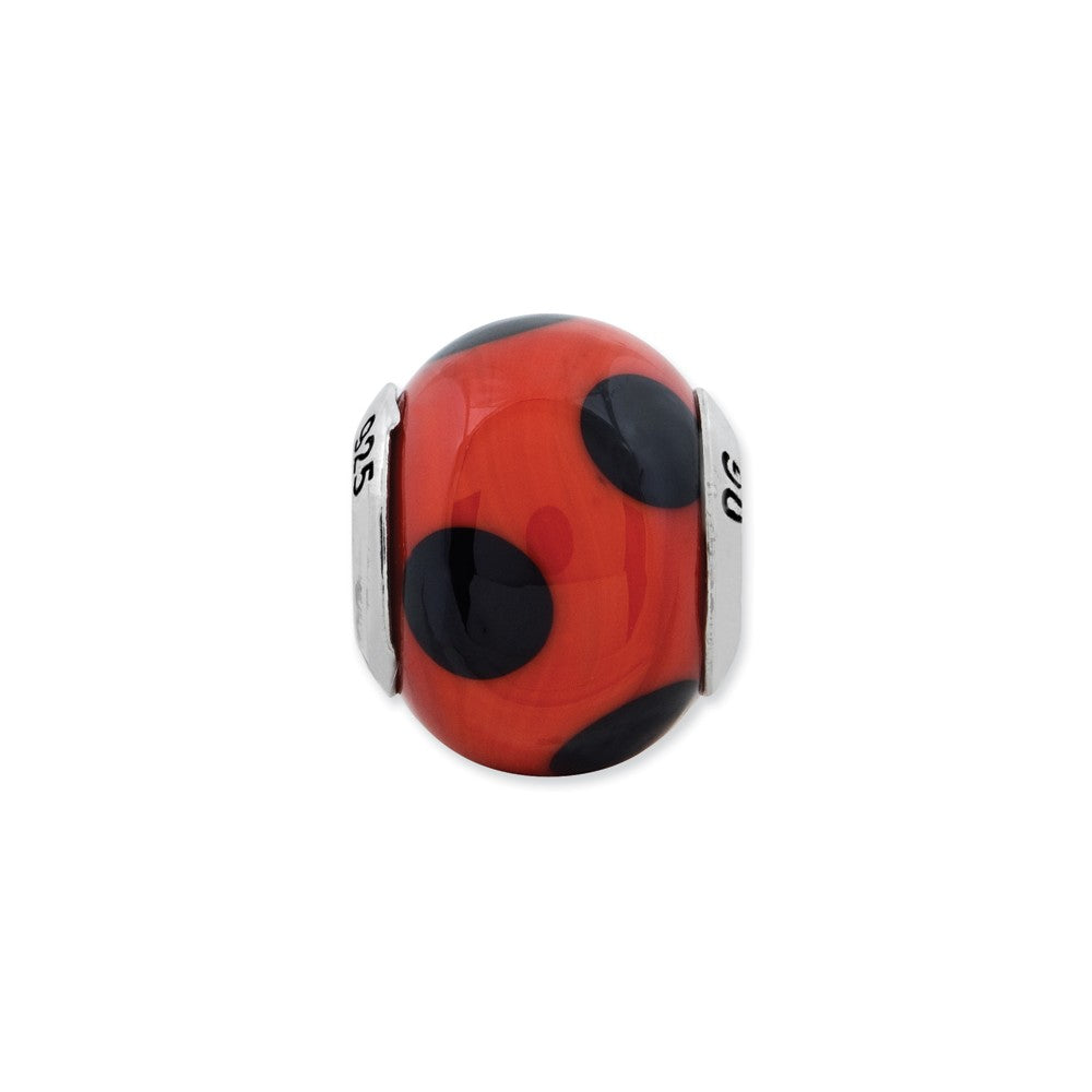 Sterling Silver Reflections Red w/Black Dots Italian Murano Bead