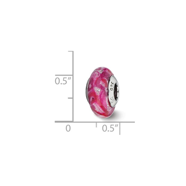 Sterling Silver Reflections Hot Pink & Glitter Overlay Glass Bead