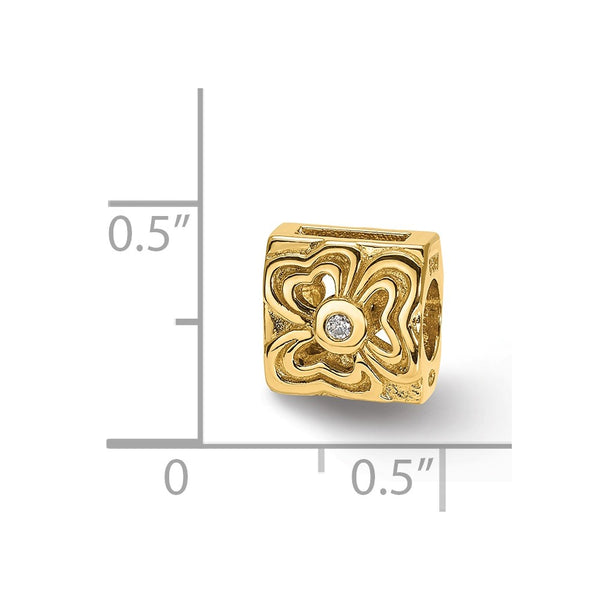 14k & .015ct Diamond Reflections Floral Bead