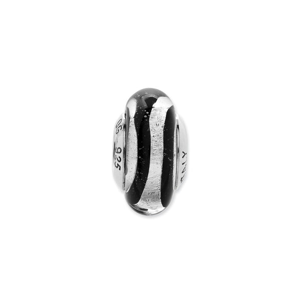 Sterling Silver Reflections Black/Silver Stripes Italian Murano Bead