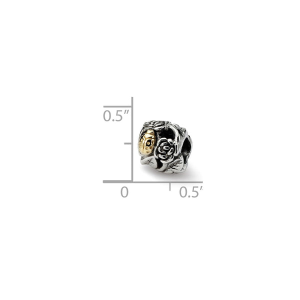 Sterling Silver & 14k Reflections Ladybug Floral Bead