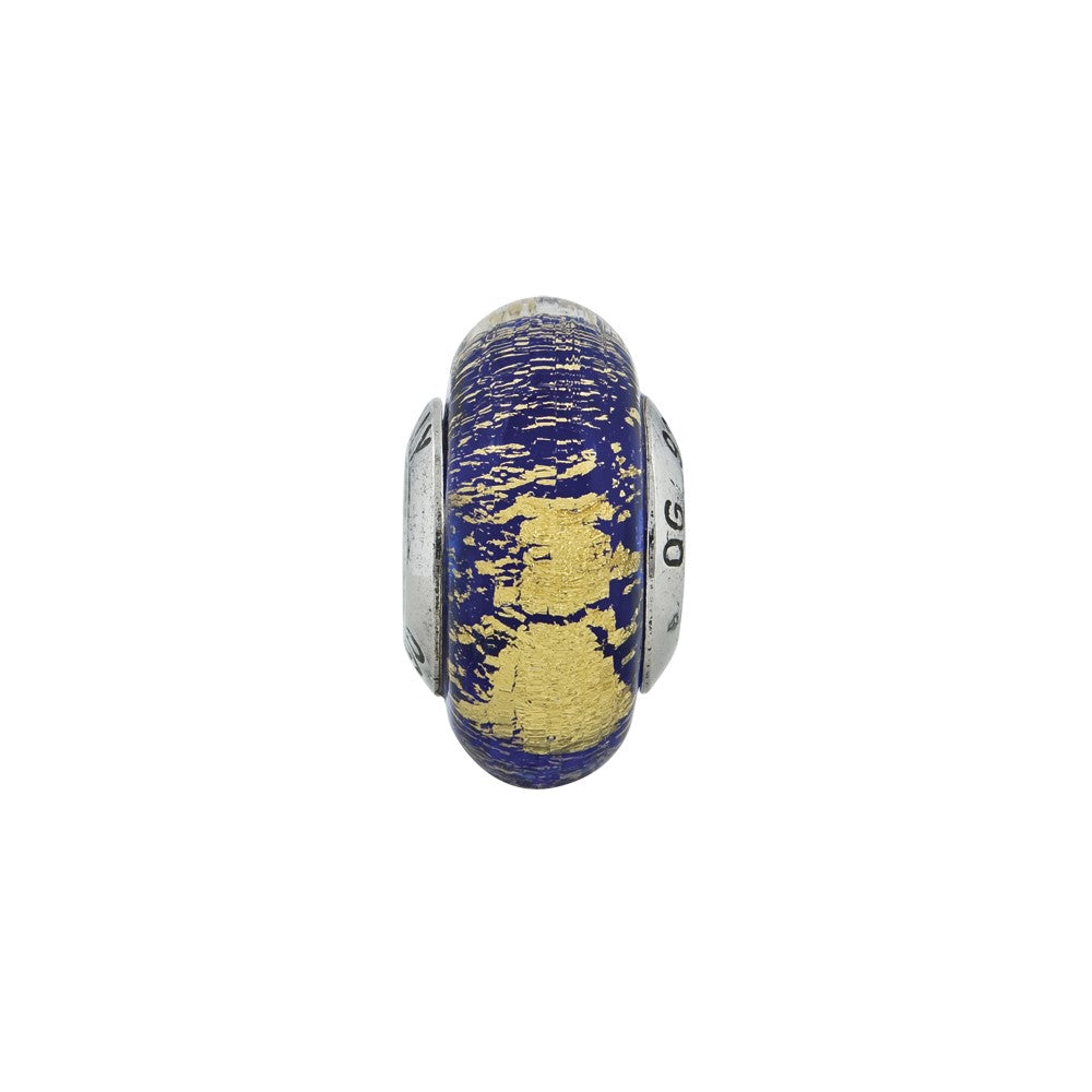 Sterling Silver Reflections Blue/Gold Italian Murano Glass Bead