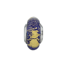 Load image into Gallery viewer, Sterling Silver Reflections Blue/Gold Italian Murano Glass Bead