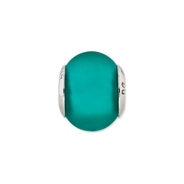 Sterling Silver Reflections Teal Matte Italian Murano Glass Bead