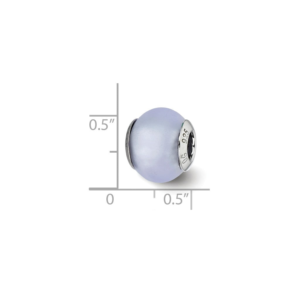 Sterling Silver Reflections Light Blue Matte Italian Murano Bead