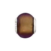 Load image into Gallery viewer, Sterling Silver Reflections Brown Matte Italian Murano Glass Bead