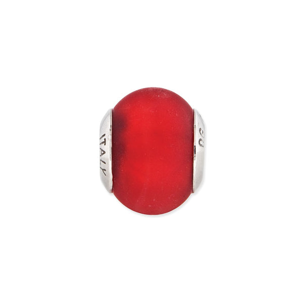Sterling Silver Reflections Red Matte Italian Murano Glass Bead