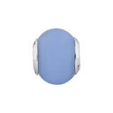 Sterling Silver Reflections Blue Matte Italian Murano Glass Bead
