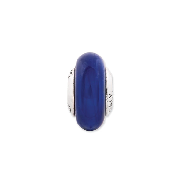 Sterling Silver Reflections Cobalt Blue Italian Murano Glass Bead