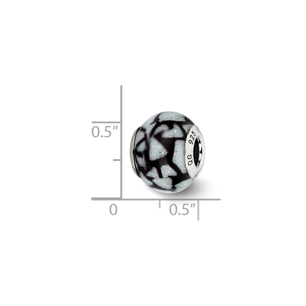 Sterling Silver Reflections White/Black w/Glitter Overlay Glass Bead