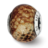 Sterling Silver Reflections Lt Brown Python Glitter Overlay Glass Bead