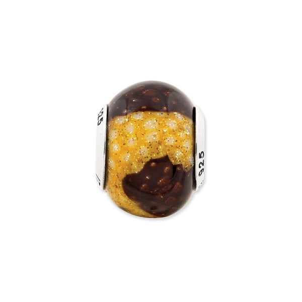 Sterling Silver Reflections Brown/Yellow Glitter Overlay Glass Bead