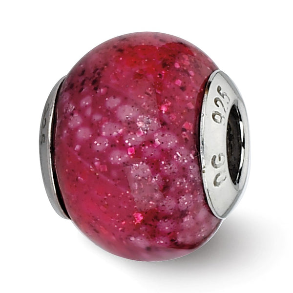 Sterling Silver Reflections Fuschia Python Glitter Overlay Glass Bead