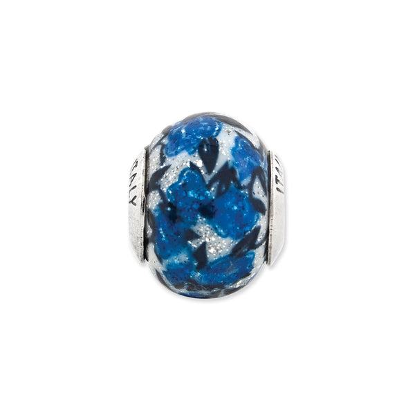 Sterling Silver Reflections Blue Rose Glitter Overlay Glass Bead