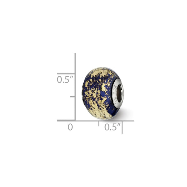 Sterling Silver Reflections Dark Blue w/Gold Foil Ceramic Bead