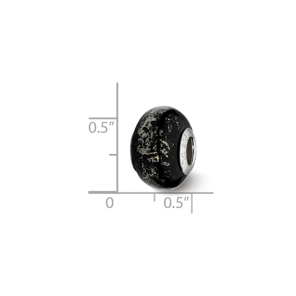Sterling Silver Reflections Black w/Platinum Foil Ceramic Bead
