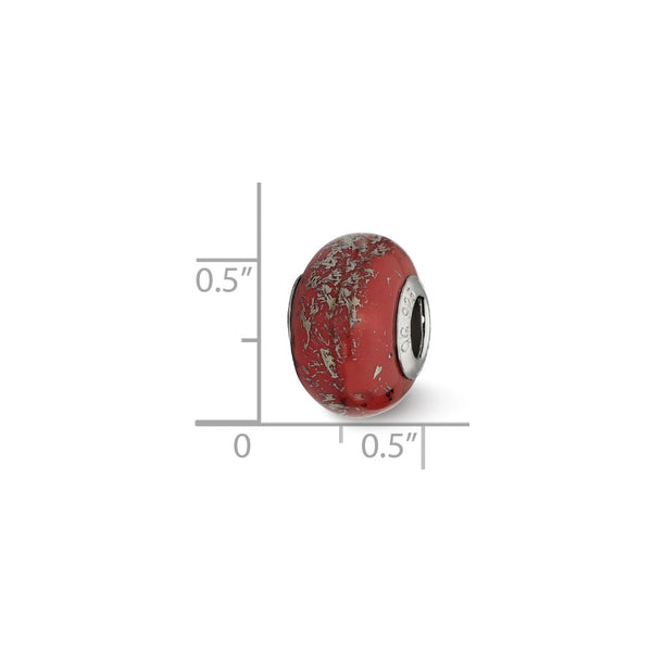 Sterling Silver Reflections Red w/Platinum Foil Ceramic Bead