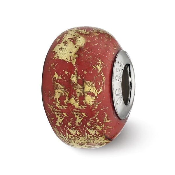 Sterling Silver Reflections Red w/Gold Foil Ceramic Bead