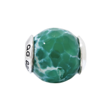 Sterling Silver Reflections Green Cracked Agate w/Shell Stone Bead
