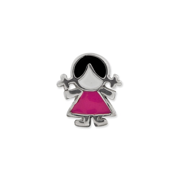 Sterling Silver Reflections Enameled Pink Dress Girl Bead