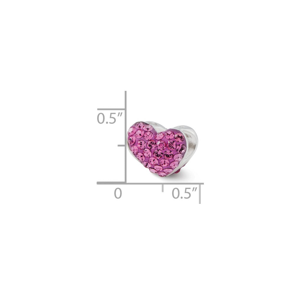 Sterling Silver Reflections Pink Swarovski Crystal Heart Bead