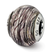 Load image into Gallery viewer, Sterling Silver Reflections Italian Murano Purple Stripes Glass Bead