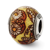 Sterling Silver Reflections Italian Yellow Floral Overlay Glass Bead