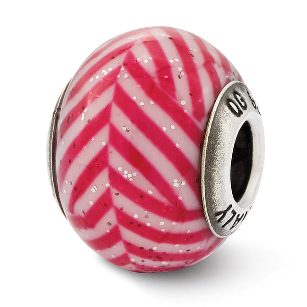 Sterling Silver Reflections Italian Pink Stripes w/Glitter Glass Bead