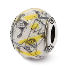 Load image into Gallery viewer, Sterling Silver Reflections Italian Decorative Yellow & White Glass Bead