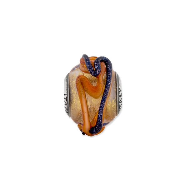 Sterling Silver Reflections Italian Yellow Blue/Orange Lines Glass Bead