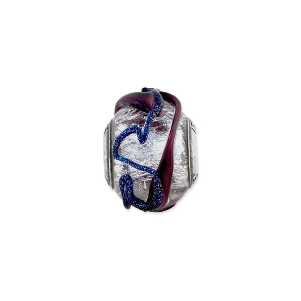Sterling Silver Reflections Italian Silver Purple Textured Glass Bead
