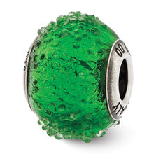 Load image into Gallery viewer, Sterling Silver Reflections Italian Green Textured  Glass Bead