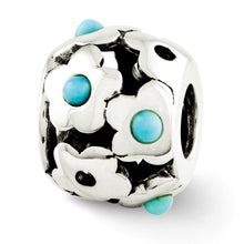 Load image into Gallery viewer, Sterling Silver Reflections Turquoise Flowers Bead