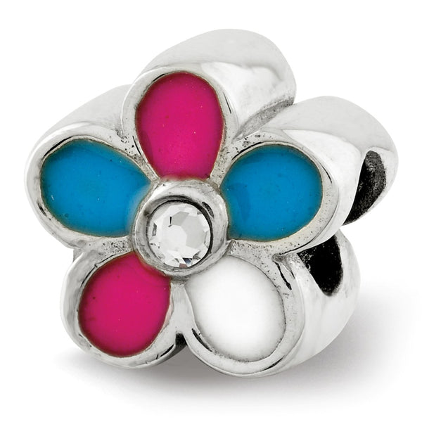 Sterling Silver Reflections Kids Enameled Flower Bead