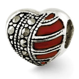 Sterling Silver Reflections Marcasite & Enameled Heart Bead