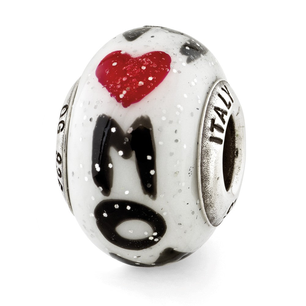 Sterling Silver Reflections Mom w/Hearts Italian Glass Bead